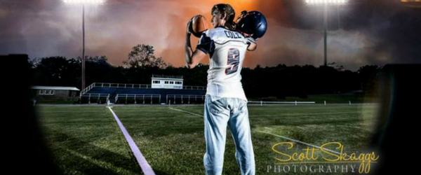 Photo of a football player for a Senior photo shoot
